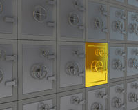Unique gold safe. Unique gold closed safe among the gray Stock Photo