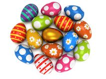 Unique golden egg among Easter Eggs Stock Image