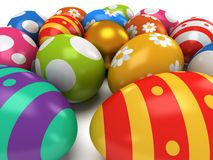 Unique golden egg among Easter Eggs Royalty Free Stock Images