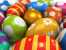 Unique golden egg among Easter Eggs Stock Images