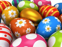 Unique golden egg among Easter Eggs Stock Photography