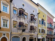 The unique Gothic-Baroque architecture of the buildings of Vipiteno, Italy stock image