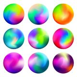 Unique gradient mesh orbs with mixed colors stock illustration