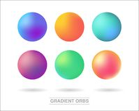 Gradient orbs set isolated on white background vector illustration