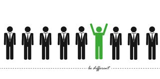 Unique green man in a group think different concept stock illustration