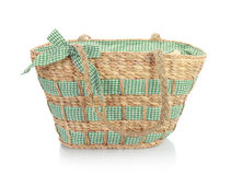 Unique green wicker bag Royalty Free Stock Photos