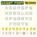 Unique hand-drawn alphabet,  numbers (46 signs) Royalty Free Stock Photos