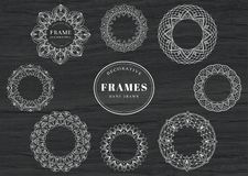 Unique, hand drawn, decorative frames. A set of lace inspired, unique, hand drawn frames. Vector illustration royalty free illustration