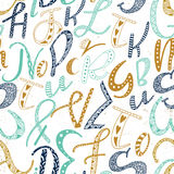 Unique hand drawn latin alphabet seamless pattern. Cute vector doodle ABC different size letters drawn by hand. Backdrop, wrapping, fabric design Stock Images