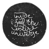 Unique hand drawn text on the universe background. Stock Images