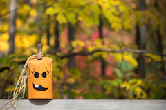 Unique Hand Painted Jack-o-Lantern with Copy Space Royalty Free Stock Image