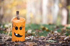 Unique Hand Painted Jack-o-Lantern on Leaves Stock Images