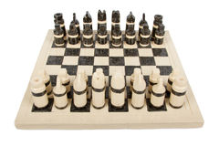 Unique handmade chess set (pottery), isolated Royalty Free Stock Photography