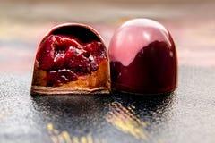 Unique handmade dark chokolate sweets Royalty Free Stock Photo