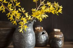 Unique handmade pot with wooden detail for sugar or salt and branches of Forsythia in black vase Royalty Free Stock Photo