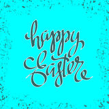 Unique handwritten lettering Happy Easter on a blue background 3 Royalty Free Stock Image