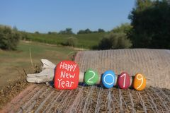 Happy New Year 2019 with multi colored stones on a hay roll with country background. Unique Happy New Year postcard for the 2019 year composed with colored and vector illustration