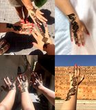 Unique henna patterns on the hands of young girls. Morocco. This photo shows Unique henna patterns on the hands of young girls. Morocco Royalty Free Stock Photo