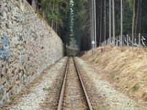 Unique historic narrow-gauge railway. South Bohemia stock photography