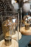 Bulbs in glass jars home decorations Royalty Free Stock Photos