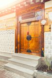 Unique house gate of resedential area at Seochon Hanok Village in Seoul, South Korea Royalty Free Stock Image