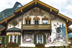 Unique houses of Oberammergau stock image