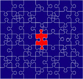 Unique illustration. Blue puzzle background with one red piece - unique illustration - vector Royalty Free Stock Image