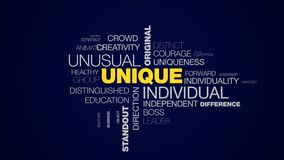 Unique individual unusual original creative special idea different inspiration standout success animated word cloud