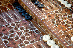 Unique inlaid backgammon board Stock Images