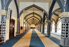 Unique interior design of the grand mosque royalty free stock photography