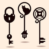 Unique keys. Unique collection silhouettes of keys Royalty Free Stock Image
