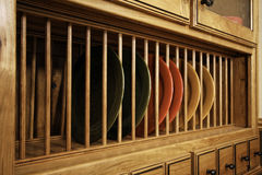 Unique kitchen cabinet dish storage Royalty Free Stock Photo