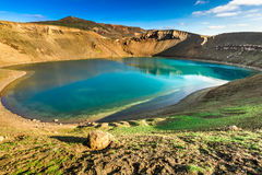 Unique lake in the crater of a volcano, Iceland Royalty Free Stock Images