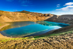 Unique lake in the crater of a volcano, Iceland Stock Photos