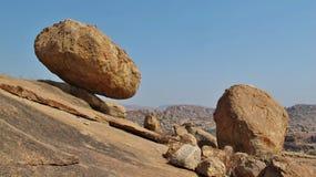 Unique landscape in Hampi, granite boulder. Big balancing granite boulder in Hampi, India. Popular region for rock climbing. Unique landscape stock image
