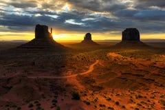 Unique landscape of Monument Valley at sunrise, Utah Stock Photography