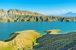 The unique landscapes of Armenia. The Azat Reservoir is amazing place to enjoy the nature, admire the folded landscape and overlook the Ararat Mount, Ararat Stock Photography
