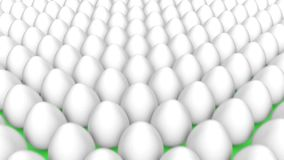 Unique leader golden egg among many white eggs. 3d animation of unique leader golden egg among many white eggs stock footage