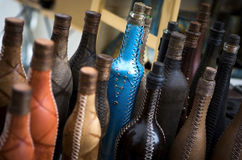 Unique leather covered bottles Royalty Free Stock Image
