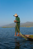 Unique leg rowing style and fishing in Burma Stock Image