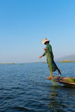 Unique leg rowing style and fishing in Burma Royalty Free Stock Photography