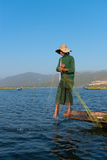 Unique leg rowing style and fishing in Burma Stock Images