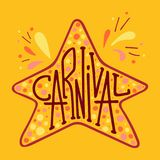 Unique lettering with doodles in honor of a carnival. Star frame Royalty Free Stock Photography