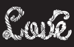 Unique lettering made in hand drawn line baroque style. Stock Image