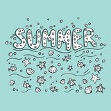 Unique lettering poster with word Summer. Stock Photography