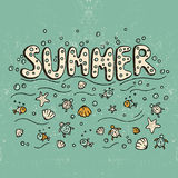 Unique lettering poster with word Summer. Stock Photos