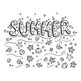 Unique lettering poster with word Summer. Royalty Free Stock Photo