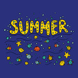 Unique lettering poster with word Summer. Royalty Free Stock Photography