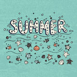 Unique lettering poster with word Summer. Royalty Free Stock Image