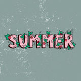 Unique lettering poster with word Summer. Vector art. Trendy handwritten summer illustration. Stock Image
